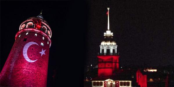 İstanbul Sİmgeleri Kırmızıya Büründü